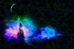 In the moonlight. Expressionism painting. Forest in the moon light Royalty Free Stock Photos