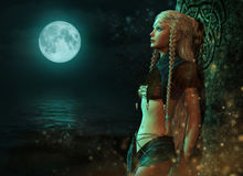 Moonlight Fairy, 3d CG. 3d computer graphics of a fairy in the moonlight Royalty Free Stock Image