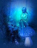 Moonlight fairy. Digital render of a fairy sitting on a mushroom in the moonlight Royalty Free Stock Images