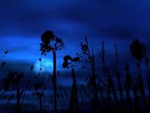 Moonlight floral background vector illustration
