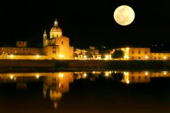 Moonlight Florence. View on Florence at night Royalty Free Stock Photos