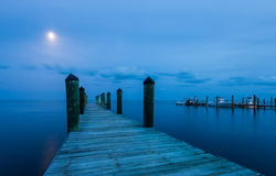 Moonlight at Florida Keys. Moonlight shining at jetty Florida Keys stock image