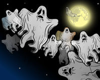 Moonlight flying ghosts Stock Image