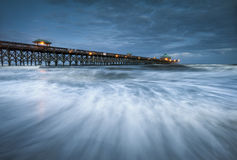Moonlight Folly Beach Pier Charleston SC Coast Stock Images