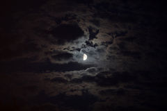 Moonlight illuminates the clouds Stock Photo