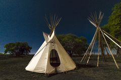 Moonlight on Indian Tepee at Ute Indian Museum, Montrose, Colorado. SEPTEMBER 26, 2018 - UTE INDIAN MUSEUM, MONTROSE, COLORADO, USA - Moonlight on Indian Tepee stock photos