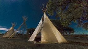 Moonlight on Indian Tepee at Ute Indian Museum, Montrose, Colorado. SEPTEMBER 26, 2018 - UTE INDIAN MUSEUM, MONTROSE, COLORADO, USA - Moonlight on Indian Tepee royalty free stock photography