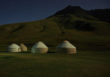 Moonlight on kirghiz yurt Stock Photography
