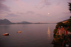 Moonlight on lake Maggiore Royalty Free Stock Photo