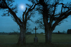 Moonlight Landscape Tree and Cross. Moonlight winter landscape with two trees framing a Christian cross royalty free stock photos
