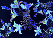 Moonlight Lilly. Hand drawn botanical floral bouquet with illuminating dark midnight blue gradient Stock Image