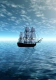 Moonlight. Lonely sailing ship Royalty Free Stock Image