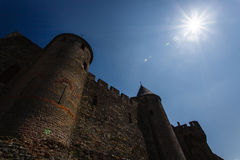 Moonlight Medieval Towers and walls of Carcassonne Royalty Free Stock Image
