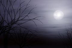 Moonlight Mist and Tree Background. An illistration featuring the figure of a woman walking in a misty moonlight setting Royalty Free Stock Image