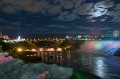 Moonlight on Niagara river Stock Images