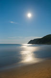 Moonlight night of August at coast of sea of Japan... Stock Photography