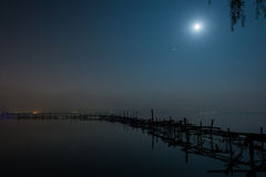 Moonlight night. A bright moonlight night, Dianchi Lake scenery Stock Photos