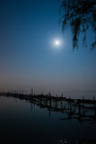 Moonlight night. A bright moonlight night, Dianchi Lake scenery Stock Images