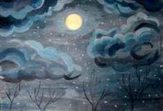 Moonlight night. The moon and clouds at night children's artwork Royalty Free Stock Images
