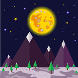 Moonlight night and nature landscape-vector Stock Photography