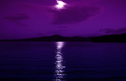 Moonlight. Night photo, the reflection of the moonlight on the water, beautiful horizon Stock Photo