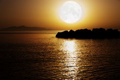 Moonlight. On the night sea. Elements of this image furnished by NASA stock photography