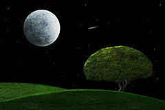 Moonlight Night With Solitary Tree. Full moon in a starry night sky shining on a solitary tree Stock Photo
