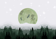 Moonlight over forest. Digital art of forest trees and big moonlight with eagles circling it Stock Photography