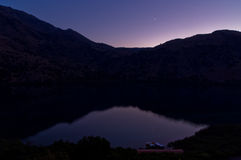Moonlight over the Kournas lake, island of Crete Royalty Free Stock Photo