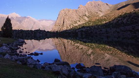 Moonlight over a lake. Time Lapse. Pamir, Tajikis stock video footage