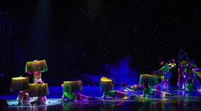 Moonlight over the lotus pond-Silk fan-China ethnic dance Royalty Free Stock Photography