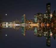 Moonlight over midtown Manhattan. With reflection Stock Images