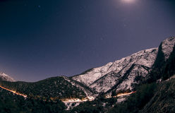 Moonlight over mountain landscape Royalty Free Stock Photography