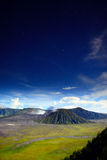 Moonlight over MT.Bromo Stock Photography