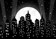 Moonlight over night city. Illustration Royalty Free Stock Images