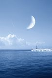 Moonlight over the ocean Stock Photos