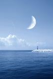 Moonlight over the ocean Stock Photos
