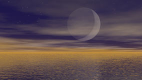 Moonlight over ocean - 3D render. Zoom out of big full moon upon ocean vector illustration