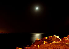 Moonlight over the rocks Royalty Free Stock Image