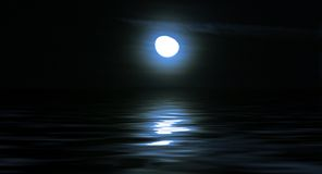 Moonlight over sea. Beautiful moonlight reflection over water Royalty Free Stock Photo