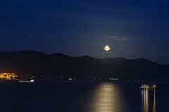 Moonlight over the sea. Full moon over the Black Sea Royalty Free Stock Images