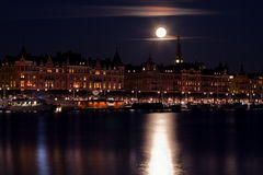 Moonlight over Stockholm. Stock Photos