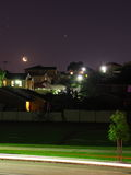 Moonlight night scene residential area Royalty Free Stock Photo