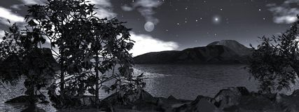 Moonlight over the water, panoramic Royalty Free Stock Image