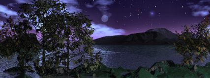 Moonlight over the water, panoramic. Panoramic moonlit scene with a mostly clear sky Royalty Free Stock Photos