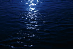 Moonlight reflected on the sea Royalty Free Stock Photo
