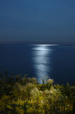 Moonlight reflection on the feather. Moonlight night at the lake Ontario stock photography