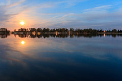 Moonlight reflection in water, beautiful landscape at night Royalty Free Stock Photo