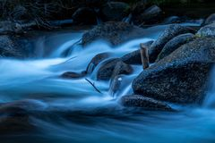 Moonlight River. Flowing river in the moonlight stock images