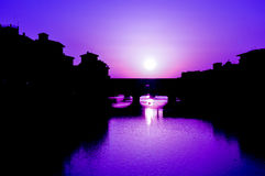 Moonlight. Romantic moonlight in Florence, Italy stock images